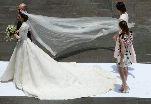 Princess Alessandra's wedding dress from fashion designer Jorge Vázquez. Princess Eugenie wore Alice + Olivia Coco Dress, Princess Alexandra wore Giambattista Valli Dress. Borromeo