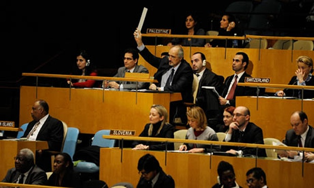 Bashar Ja'afari, the Syrian ambassador to the United Nations, calls a point of order before the general assembly voted to condemn the violence in Syria.