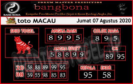 Prediksi Bangbona Togel Macau Jumat 07 Agustus 2020