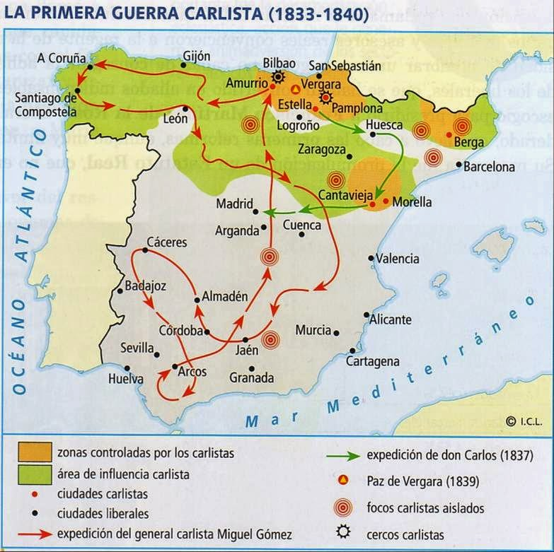 Primera Guerra Carlista Mapa.Hispania Bloque 6 Mapa La Primera Guerra Carlista 1833 1840