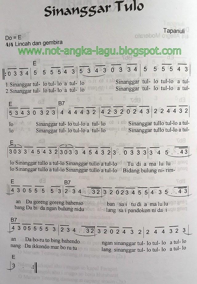 Lirik Sinanggar Tulo : lirik, sinanggar, Angka, Sinanggar, Koleksi