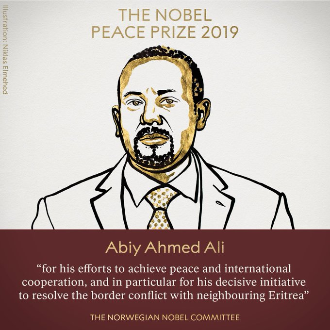 Ethiopian Prime Minister, Abiy Ahmed Ali wins Nobel Peace Prize for 2019