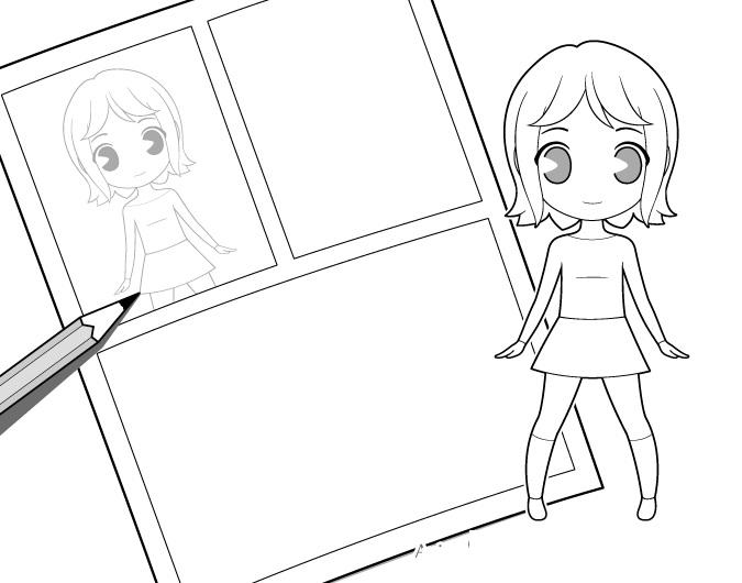 Membuat sketsa halaman manga menggunakan karakter chibi