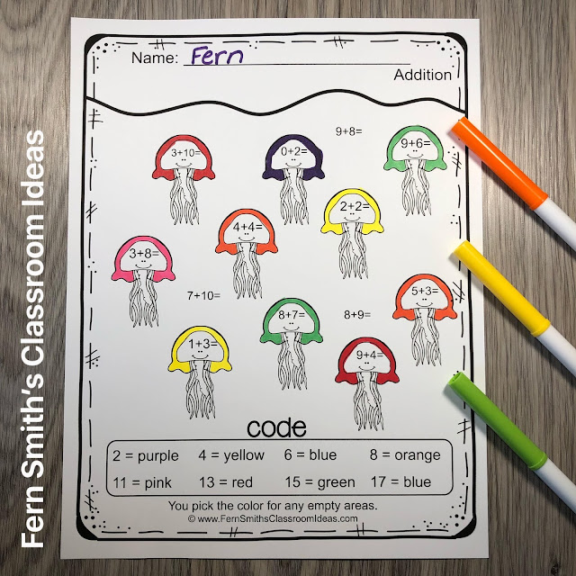 Click Here to Download the FREE Ocean Themed Color By Number Addition Resource