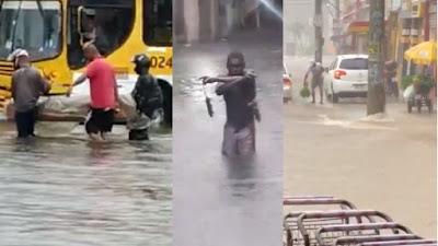 Vídeo: soteropolitanos protagonizam cenas curiosas debaixo de chuva e em alagamentos