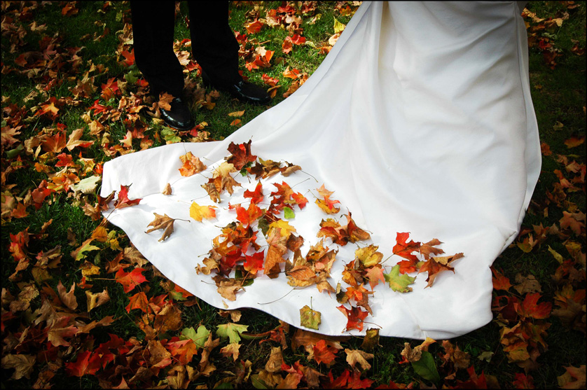 autumn leaves on wedding train