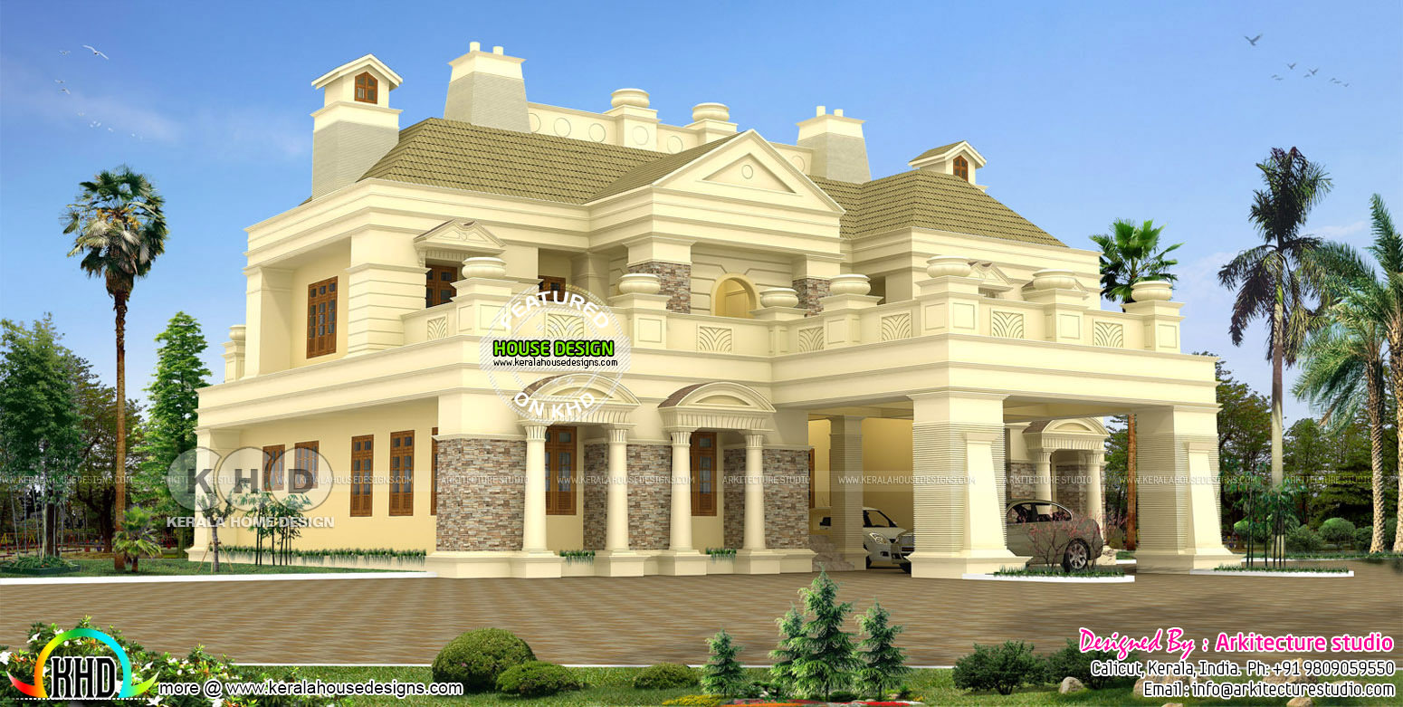 Luxury 5 bedroom colonial home kerala home design and for Colonial style house plans kerala