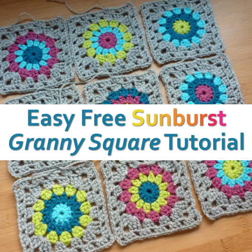 Sunburst crochet granny squares in different yarn colors