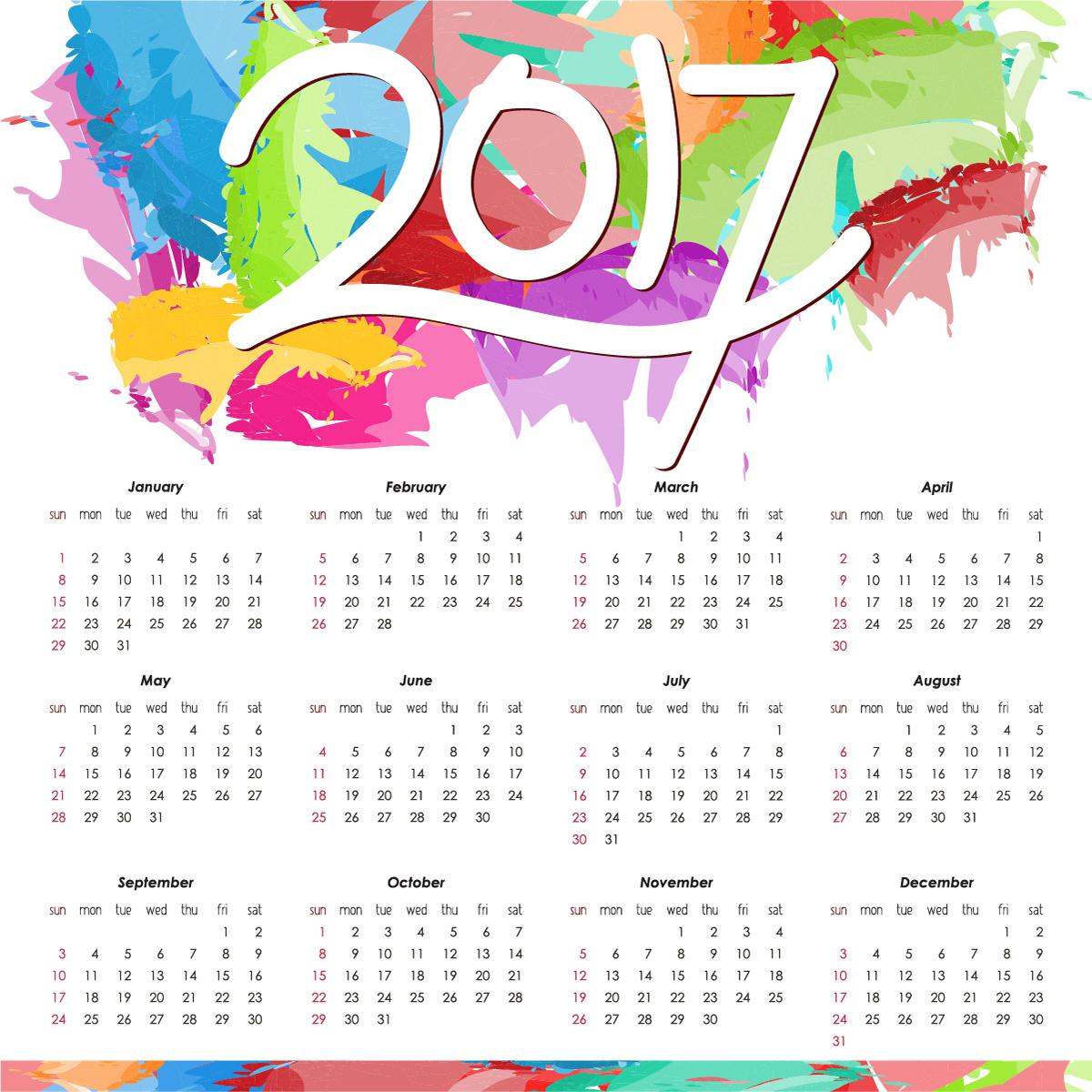 Calendar 2017 New Designs 2016 Blank Calendar