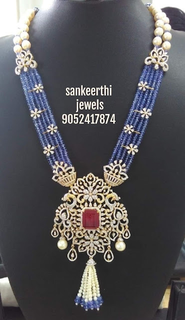 Blue Sapphire Beads Set by Sankeerthi jewels