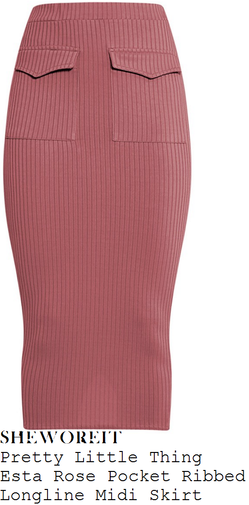 danielle-armstrong-pretty-little-thing-esta-rose-pink-ribbed-pocket-detail-midi-skirt