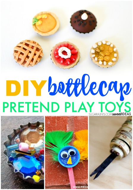 DIY bottle cap toys would be fun for pretend play with kids.
