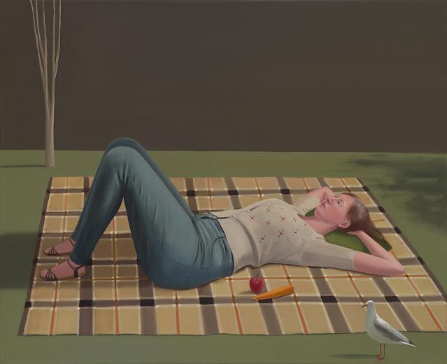 Prudence Flint, pinturas, imagenes de soledad femenina bonitas, chidas de arte inspirador, mujer instrospeccion, parque,