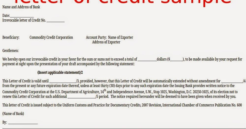 Letter Of Credit Glossary Of Terms Creditmanagementworld Letter Of Credit Sample Samples Business Letters