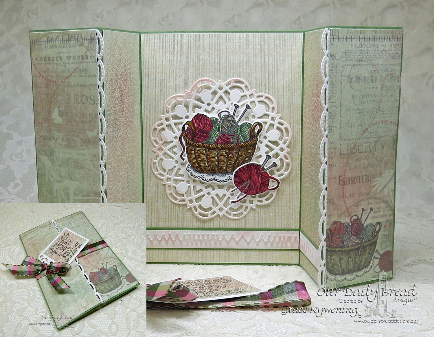 Stamps - Our Daily Bread Designs Stitches, Hand Knit, ODBD Custom Beautiful Borders Dies, ODBD Custom Recipe Card and Tags Dies, ODBD Custom  Doily Die, ODBD Soulful Stitches Paper Collection