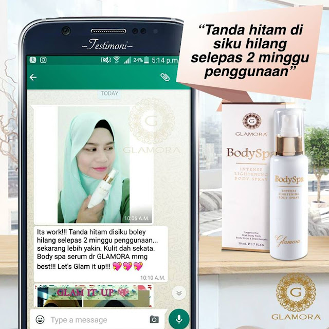 testimoni glamora body spa, testimoni body spa intense lightening body spray