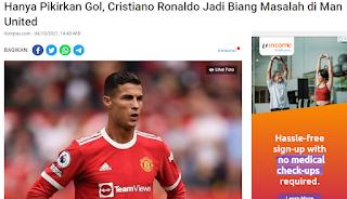 Hanya Pikirkan Gol, Cristiano Ronaldo Jadi Biang Masalah di Man United