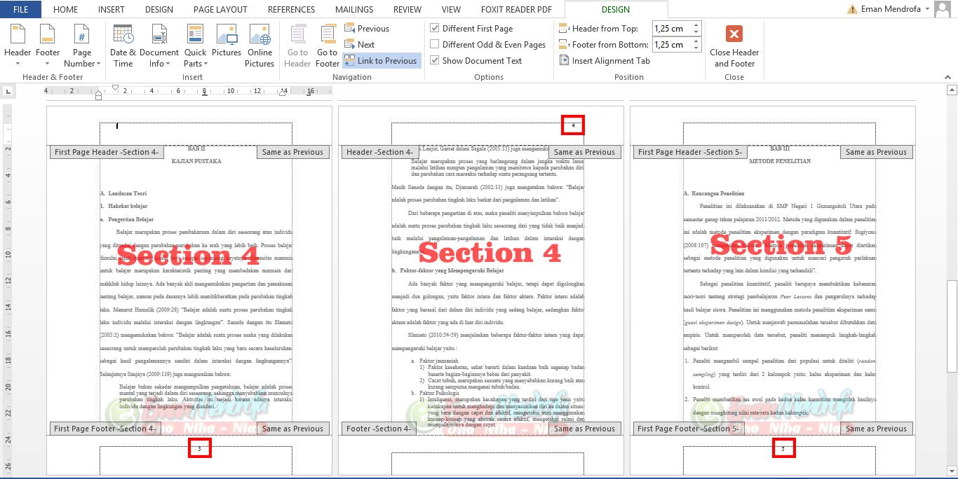 Mengatur nomor halaman section 4 dan 5