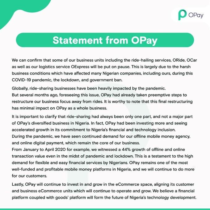 OPay Shuts Down ORide, OCar, OExpress