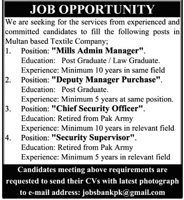 Latest Jobs in Multan Based Textile Company June 2021