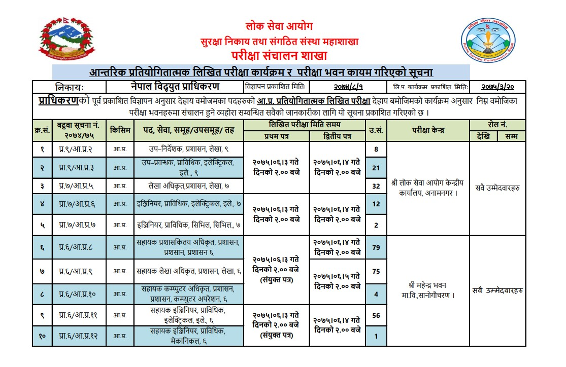 Nepal Electricity Authority Published Exam Date and Exam Center for Various Posts