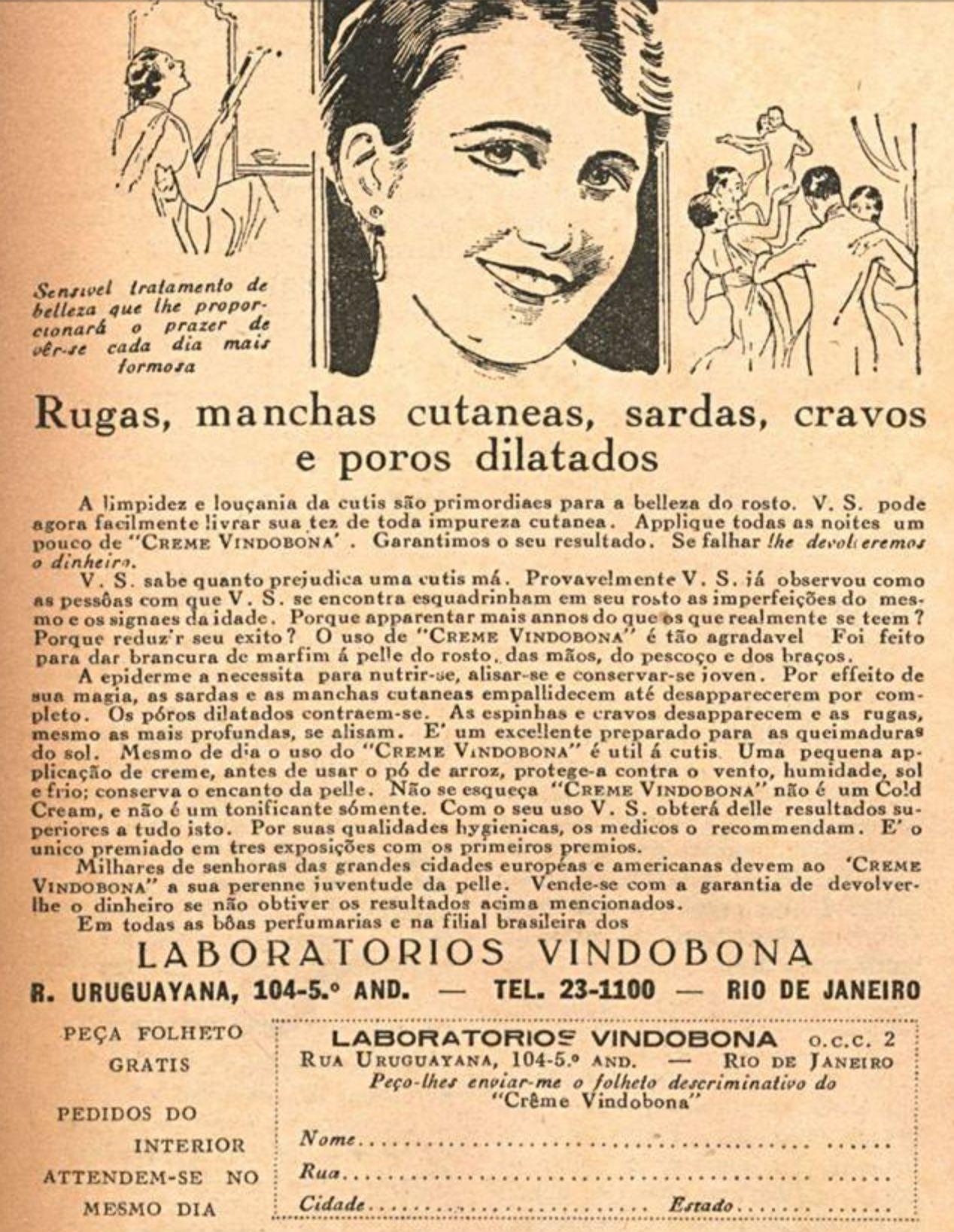 Anúncio do Creme Vindobona veiculado em 1936