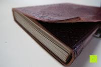 seitlich: Creoly handgemachtes 'Day Of The Dead' Journal aus geprägtem Leder (15cm x 20cm)