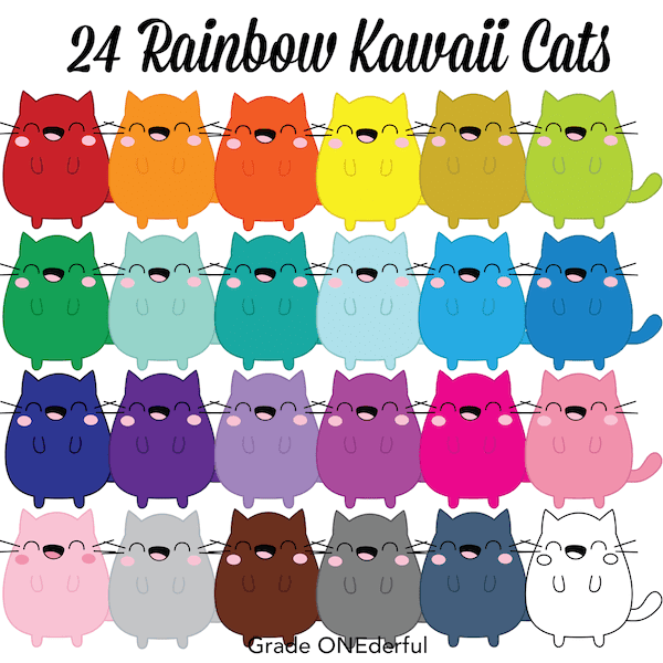Kawaii Cats Clip Art in ALL the Colours!