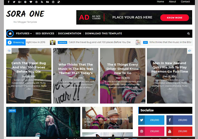 sora one free blogger templates, sora templates, blogger theme, blogger responsive template, seo friendly blogger template, sora one theme