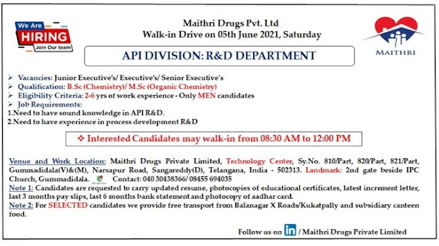 Maithri Drugs | Walk-in interview for R&D department on 5th Jun 2021