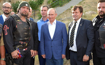 Vladimir Putin with bikers in Sevastopol, Crimea.