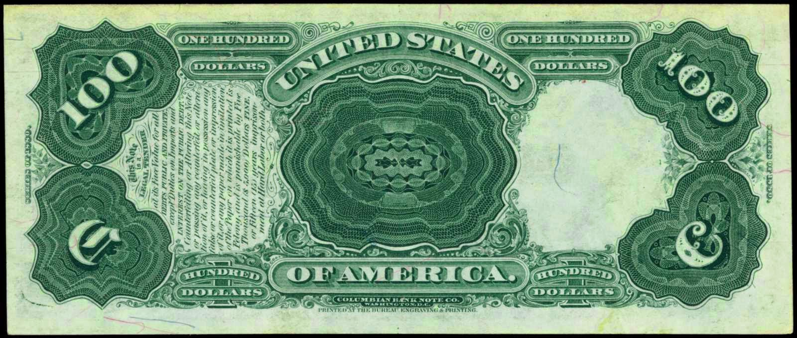 100 Dollars Legal Tender Note