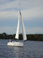 Sailing in light winds (Lake Macquarie, NSW, Australia)
