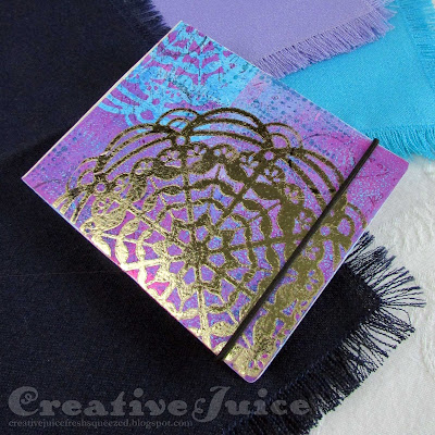 Lisa Hoel for Eileen Hull - monoprinted Post-it holder with her new Ch. 4 Sizzix dies the Notepad & Heart Mandala Dies! #gelpressobsessed #creativejuicefreshsqueezed #eileenhull #eileenhulldesigns #eileenhullsizzix #ehinspirationteam #eheducators #Sizzix #mymakingstory #diecutting