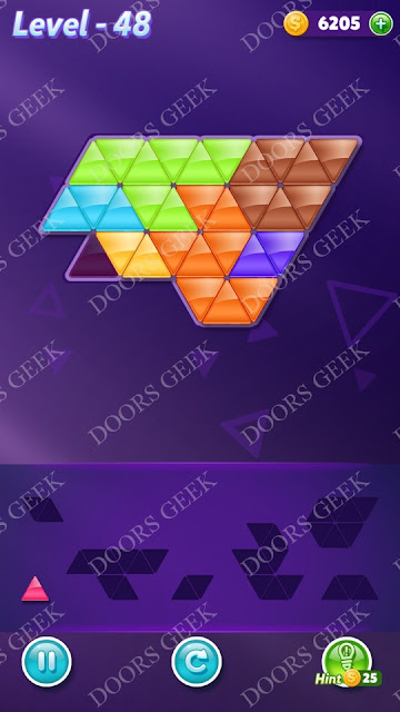 Block! Triangle Puzzle Advanced Level 48 Solution, Cheats, Walkthrough for Android, iPhone, iPad and iPod