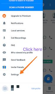 Truecaller app setting screenshot