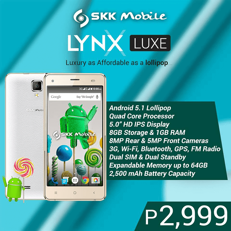 SKK Lynx Luxe Now Official, Budget Android 5.1 Lollipop Priced At 2999 Pesos!