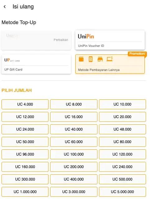 Top Up Game dengan UniPin Credit