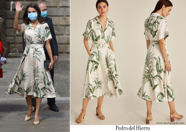 Queen Letizia wore a new printed shirt dress from Pedro del Hierro