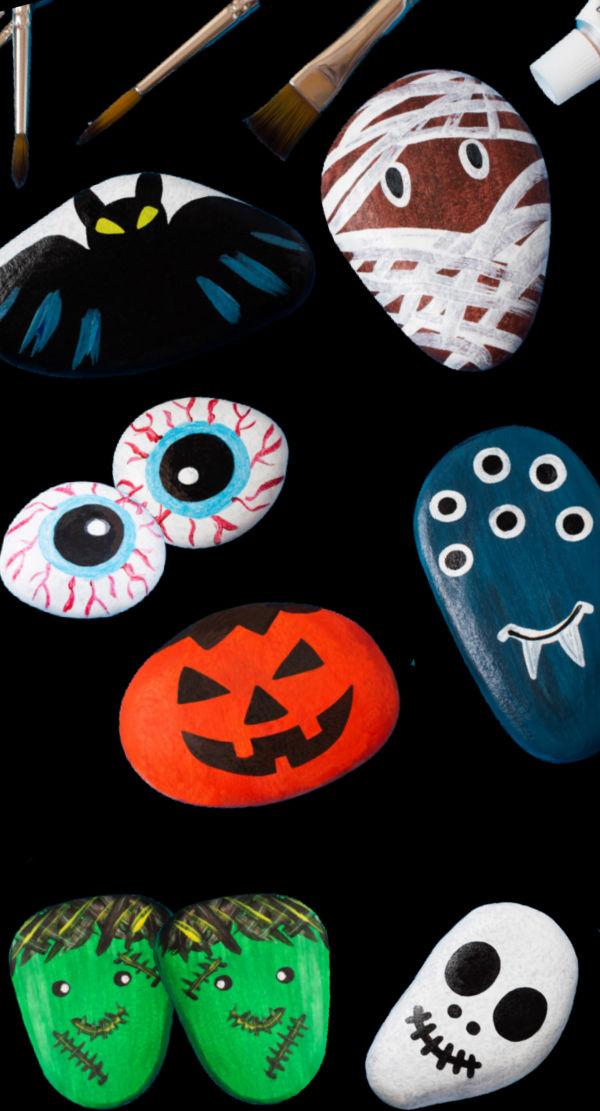Spooky stones Halloween craft for kids using painted rocks #halloweencrafts #halloweenrocks #paintedrocks #growingajeweledrose #activitiesforkids
