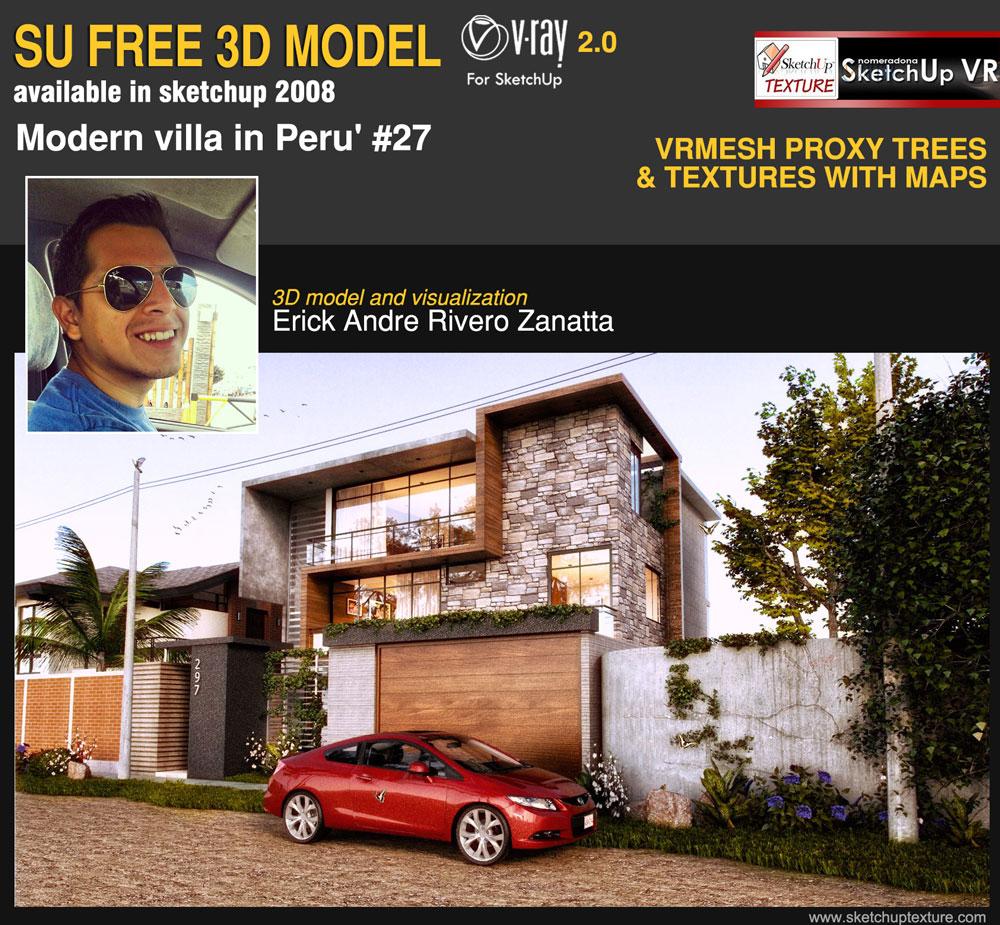 sketchup free 3d model modern villa #27