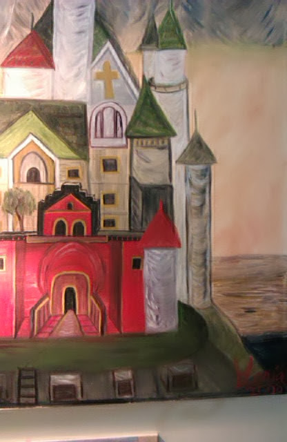 """The Schloss"" oil painting by Gloria Poole, yr 2008, size 4ft wide, 5ft tall"