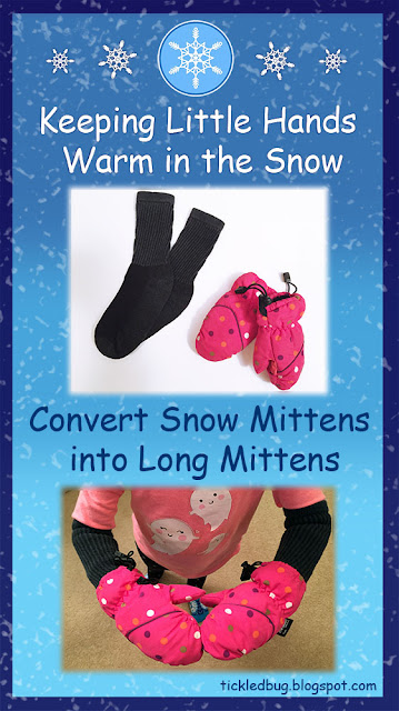 Blue background with snowflakes and child wearing pink polka dot snow mittens