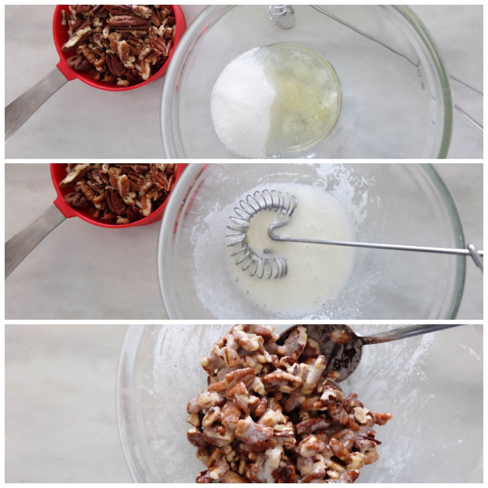 mixing pecans with sugar and egg whites