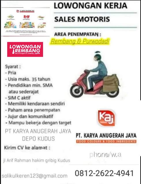 Lowongan Kerja Sales Motoris PT Karya Anugerah Jaya Penempatan Rembang & Purwodadi