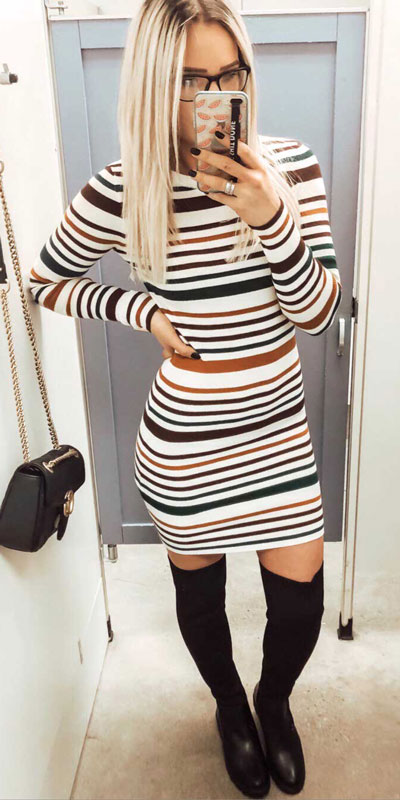 26 Charming Fall Outfits for College Girls. All Casual Fall Wear Every Girl Who Goes to College Will Love. High School Fashion +Teen Outfits via higiggle.com | midi dress | #falloutfits #college #teenoutfits #mididress