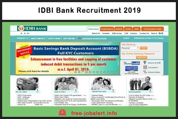 IDBI Recruitment 2019