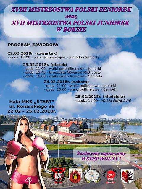 XVIII Mistrzostwa Polski Seniorek w Boksie, Grudziądz 2018!