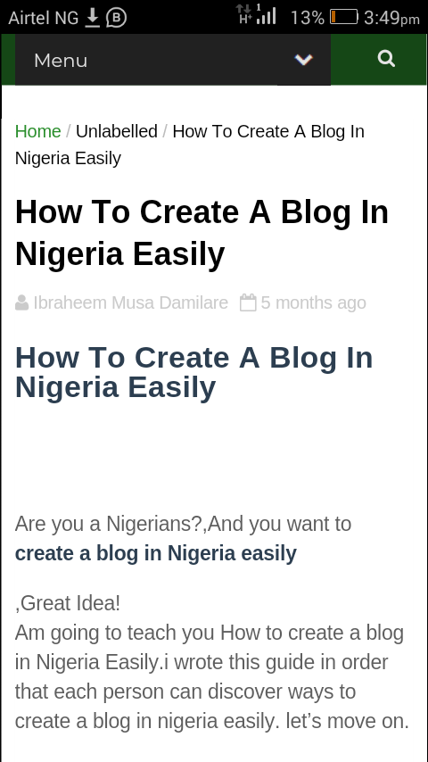 How To Create A Blog In Nigeria Easily