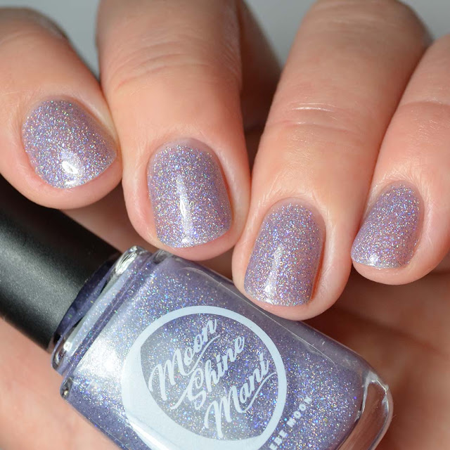 purple holo nail polish four finger swatch